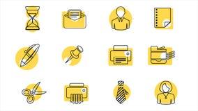 Negocio y línea iconos de la oficina 4K Alpha Channel stock de ilustración