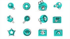 Negocio y línea iconos de la oficina 4K Alpha Channel almacen de video