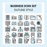 Negocio 30 y sistema del icono de la oficina, usando estilo del esquema stock de ilustración