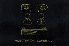Negocjacje & transakcje: biznesmeni z uściskiem dłoni w komicznego bubb fotografia stock