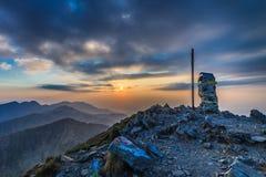 The Negoiu Peak. Fagaras Mountains, Romania stock photos