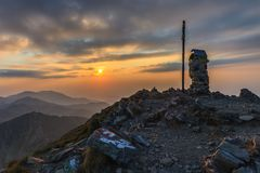 The Negoiu Peak. Fagaras Mountains, Romania Stock Photo