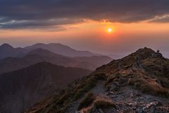 The Negoiu Peak. Fagaras Mountains, Romania Royalty Free Stock Photo
