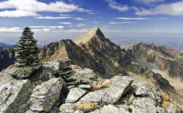 Negoiu Peak in The Fagaras Mountains Stock Photos