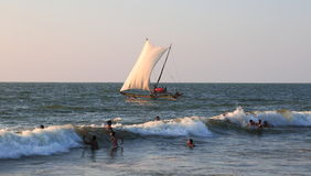 Negombo海滩在斯里兰卡 免版税库存照片