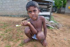 Negombo,斯里兰卡, 2015年11月7日:在Negombo街道上的男孩洗涤的牙 免版税库存图片