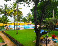 Negombo, Sri Lanka - April 29, 2009: The swimming pool at Camelot Beach Hotel Royalty Free Stock Images