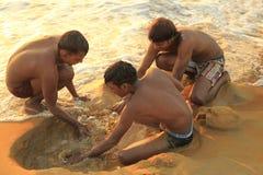 Negombo strand i Sir Lanka Arkivfoton