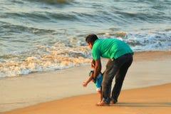 Negombo strand i Sir Lanka Arkivbild