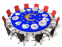 Negotiating table. Chairs around the table with the symbol of the euro and banknotes Stock Photos