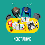 Negotiation banner. Top view business workspace. Negotiation banner.. Workspace background, vector illustration. Top view of businessmen working with financial Royalty Free Stock Photos