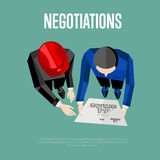 Negotiation banner. Top view of engineer builders. Negotiation banner, vector illustration. Top view of construction professionals discussing details of project Royalty Free Stock Image