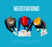 Negotiation banner. Top view of engineer builders. Negotiation banner, vector illustration. Top view of construction professionals discussing details of project Stock Image