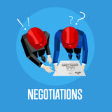 Negotiation banner. Top view of engineer builders. Negotiation banner, vector illustration. Top view of construction professionals discussing details of project Royalty Free Stock Photo