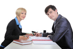 Negotiation of business partners. Stock Images