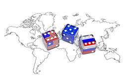 Negotiation (concept). Dices with flags of USA, Russia and European Union on the world map symbolize foreign affairs, summit of countries, state interests Stock Images