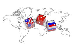 Negotiation dice USA China Russia. Negotiation political concept: dices with flags of USA, Russia and European Union on the world map symbolize foreign affairs Stock Images