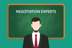 Negotiation experts white text illustration with a beard man wearing black suit standing in front of green chalk board. Vector Stock Images