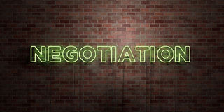 NEGOTIATION - fluorescent Neon tube Sign on brickwork - Front view - 3D rendered royalty free stock picture. Can be used for online banner ads and direct Stock Images