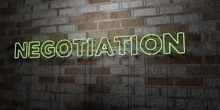 NEGOTIATION - Glowing Neon Sign on stonework wall - 3D rendered royalty free stock illustration Royalty Free Stock Image