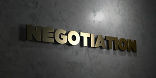 Negotiation - Gold text on black background - 3D rendered royalty free stock picture. This image can be used for an online website banner ad or a print Royalty Free Stock Photo