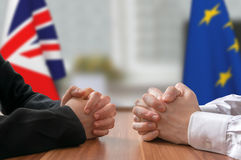 Negotiation of Great Britain and European Union Brexit. Statesman or politicians. Stock Photos