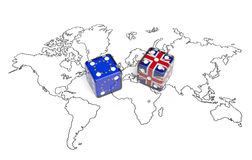 Negotiation between Great Britain and European Union (political concept). Negotiation concept: dices with flags of Great Britain and European Union on world map Royalty Free Stock Image