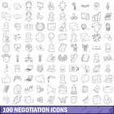 100 negotiation icons set, outline style. 100 negotiation icons set in outline style for any design vector illustration Stock Photography