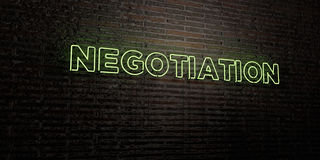 NEGOTIATION -Realistic Neon Sign on Brick Wall background - 3D rendered royalty free stock image Royalty Free Stock Photography