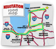 Negotiation Road Map Directions Agreement Common Benefit Goal. Negotiation word on a road map ponting you with direction to set your goals, research options Royalty Free Stock Photo