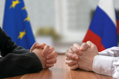 Negotiation of Russia and European Union. Statesman or politicians. Royalty Free Stock Images