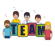 Negotiation team work flat icons. Vector illustration design Stock Photography