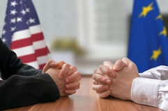 Negotiation of USA and European Union. Statesman or politicians. Stock Photos