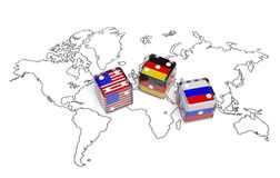 Negotiation between USA, Germany and Russia. Negotiation political concept: dices with flags of USA, Germany and Russia on the world map symbolize foreign Royalty Free Stock Images