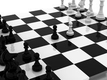 Negotiations. Chess white begin 3d model Royalty Free Stock Image