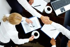 After negotiations Royalty Free Stock Photo
