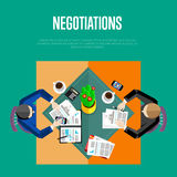 Negotiations concept. Top view workspace Stock Photo