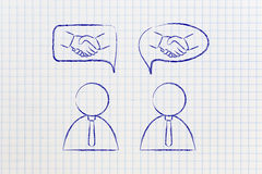 Negotiations & deals: businessmen with handshake into comic bubb Royalty Free Stock Images