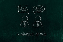Negotiations & deals: businessmen with handshake into comic bubb Royalty Free Stock Photos