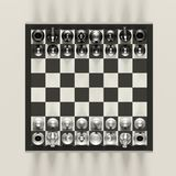 Military Standoff. Standoff of opposing groups on the battlefield concept using chess pieces Royalty Free Stock Photos