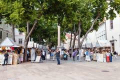 Negozi di ricordo sulla piazza a Bratislava Fotografia Stock