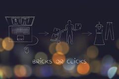 Negozi online contro il deposito fisico: quando comprate dai siti Web Immagine Stock