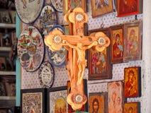 Negozio che vende i ricordi religiosi fuori della chiesa del sepolcro santo, Gerusalemme Immagini Stock Libere da Diritti