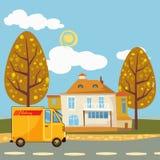 Negozio, consegna, bus del carico, paesaggio, fumetto Fotografie Stock Libere da Diritti
