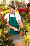 Negozio conservato in vaso della pianta del codice a barre della lettura dell'uomo del fiorista Fotografia Stock Libera da Diritti
