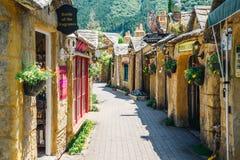Negozio d'annata nel villaggio floreale di Yufuin, Giappone immagine stock libera da diritti