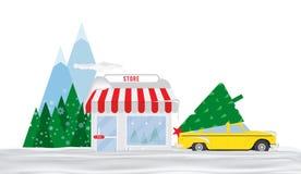 Negozio da vendere degli alberi di Natale Il taxi nella neve è parcheggiato davanti al deposito nei precedenti delle montagne e d illustrazione di stock