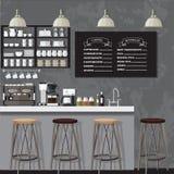 Negozio del coffe di Black&white Immagine Stock