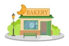 Negozio del forno di immagine di vettore Facciata del negozio del forno isolata su fondo bianco Casa del negozio del forno Cuocia illustrazione vettoriale