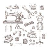 Negozio del sarto Artigianato di cucitura d'annata di cucito del sarto di industria tessile del cucito dei vestiti dei materiali  illustrazione di stock